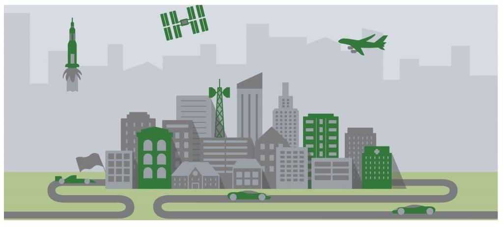 illustrazione pcb città verde grigia