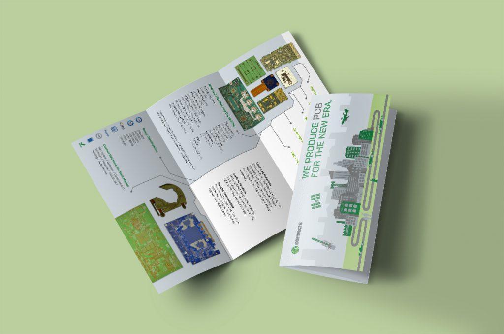 brochure aziendale su fondo verde